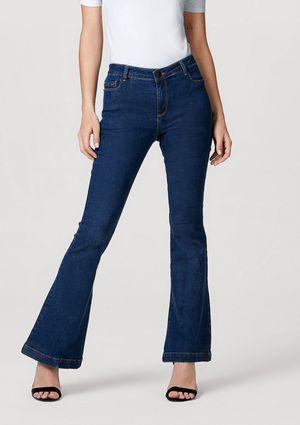 Calça Jeans Feminina Modelagem Flare Com Elastano - Azul