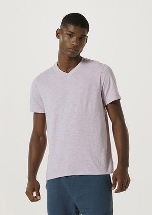 Camiseta Básica Masculina Flamê Com Decote V - Rosa