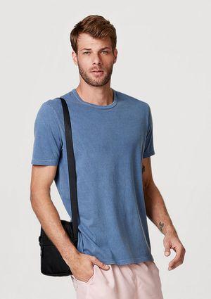 Camiseta Básicamasculina Manga Curta Com Decote Redondo - Azul