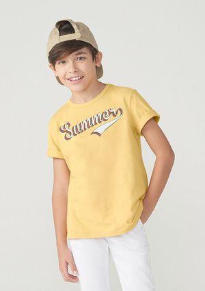 Camiseta Manga Curta Menino De Algodão - Amarelo