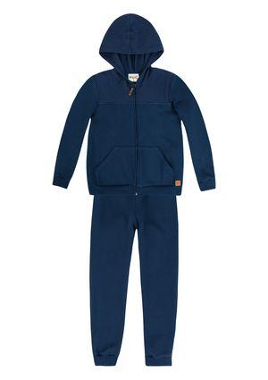 Conjunto Infantil Menino Com Jaqueta Em Moletom - Azul