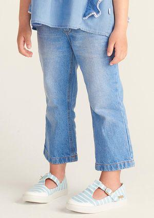 Calça Jeans Infantil Menina Modelagem Pantacourt - Preto