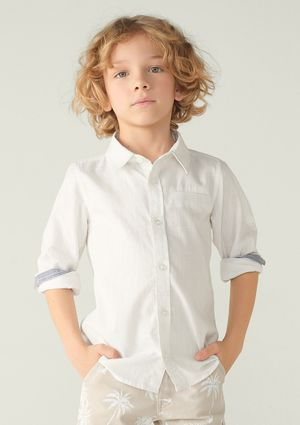 Camisa Menino Em Tecido De Algodão - Preto