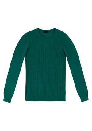 Blusão Feminino Básico Em Tricô Com Textura - Verde