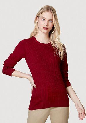 Blusão Feminino Básico Em Tricô Com Textura - Vermelho