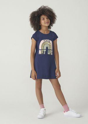 Vestido Infantil Menina Modelagem T-shirt Hering Kids - Azul