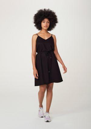 Vestido Curto Básico Com Alças Finas E Amarração - Preto