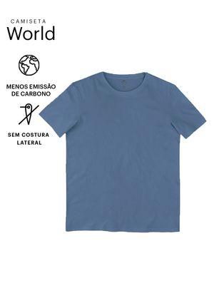Camiseta Básica Mangas Curtas World - Azul