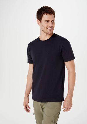 Camiseta Básica Masculina Slim Mangas Curtas - Preto