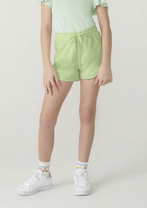 Shorts Básico Menina Em Malha Com Amarração - Verde