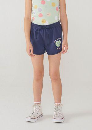Shorts Moletom Menina Com Amarração - Azul