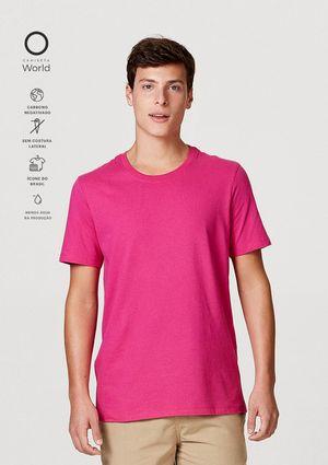Camiseta Básica Mangas Curtas World - Rosa