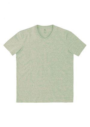 Camiseta Básica Masculina Manga Curta Com Decote V World - Cinza