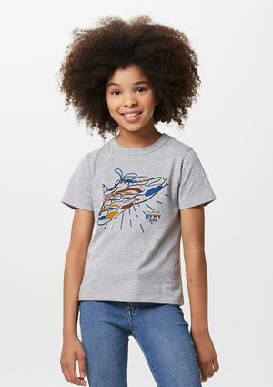 Camiseta Infantil Manga Curta Tal Pai Tal Filho - Cinza
