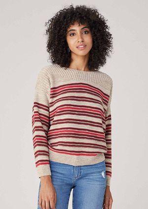 Suéter Em Tricot Com Listras - Bege