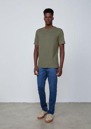 Camiseta Masculina Manga Curta Em Malha Thermal - Verde