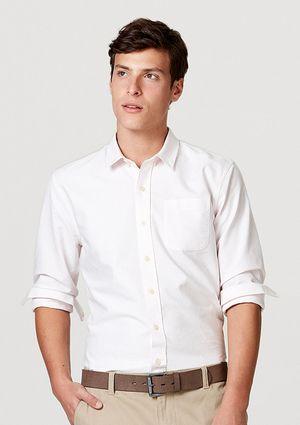 Camisa Básica Masculina Mangas Longas Em Tecido Oxford - Rosa