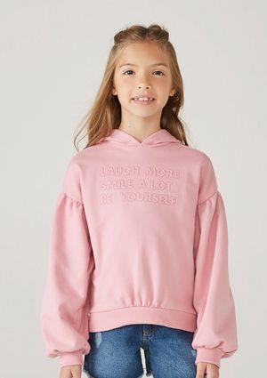 Blusão Infantil Menina Em Moletom Com Bordado - Rosa