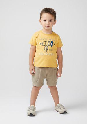 Conjunto Infantil Menino Manga Curta Toddler - Amarelo