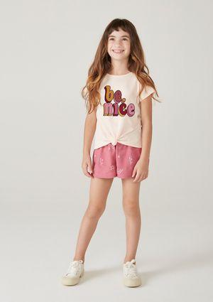 Conjunto Infantil Menina Com Bordado - Rosa