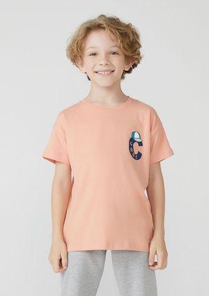 Camiseta Infantil Menino Manga Curta Com Estampa - Laranja
