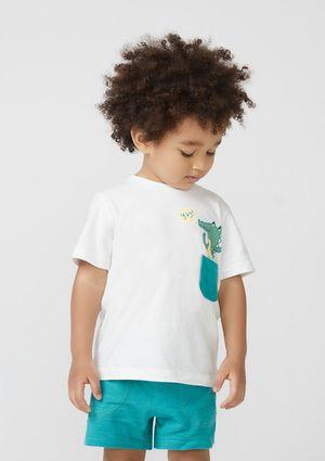 Camiseta Infantil Menino Com Estampa Interativa Toddler - Off White