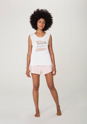 Pijama Curto Feminino Com Estampa - Off White