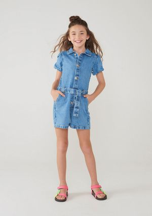 Macacão Jeans Infantil Menina Com Mangas Bufantes - Azul