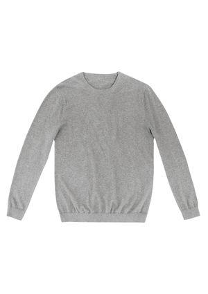 Blusão  Masculino Em Tricô De Algodão E Cashmere - Cinza