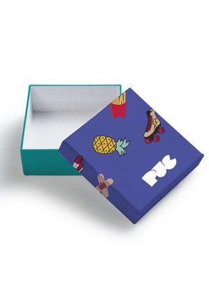 Caixa De Presente Puc - Verde E Roxo