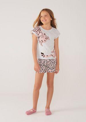 Pijama Infantil Menina Com Estampa - Cinza
