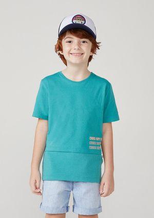 Camiseta Infantil Menino Manga Curta Com Malha Thermal - Verde
