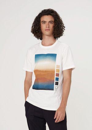 Camiseta Masculina Com Estampa Em Malha De Algodão - Off White
