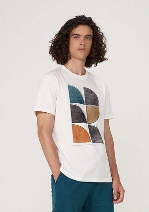 Camiseta Masculina Regular Em Malha De Algodão - Off White