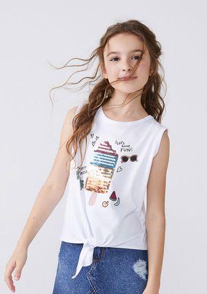 Blusa Regata Menina Em Malha De Algodão Com Amarração - Branco