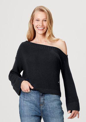 Blusão Feminino Em Tricô De Algodão E Modelagem Box - Preto