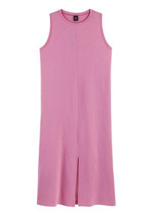 Vestido Midi Básico Com Fenda - Rosa