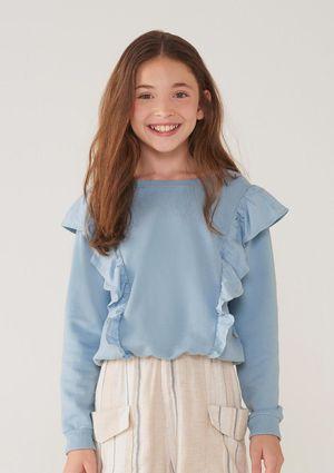 Blusão Infantil Menina Em Moletom Com Babados - Azul