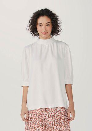 Blusa Feminina Gola Alta Em Viscose Texturizada - Off White